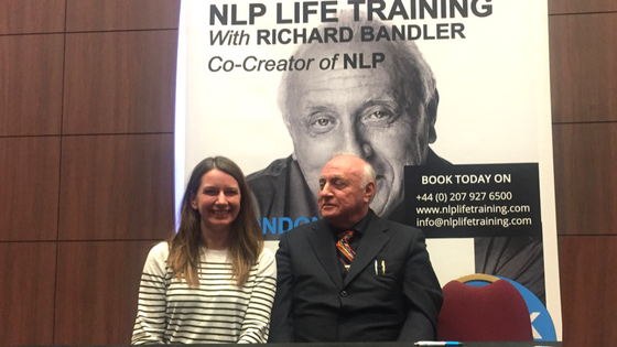 Angela Wilbraham with NLP Co-Founder Richard Bandler.
